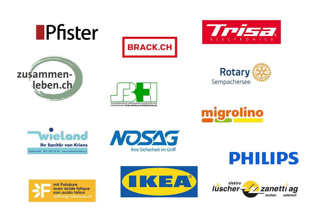 Logos der Sponsoren von ParaWG, die Wohngemeinschaft für junge Rollstuhlfahrer*innen
