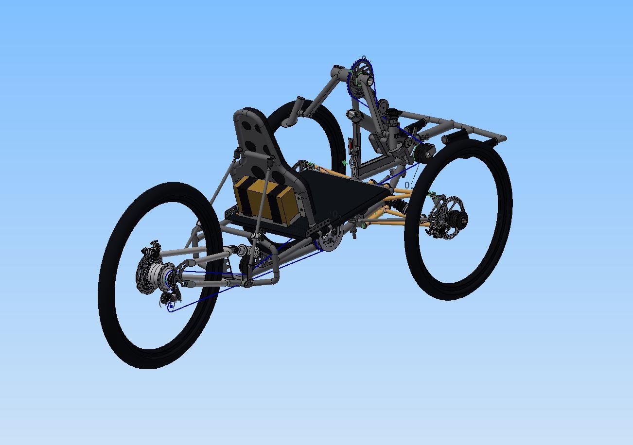 Abbildung eines digital gezeichneten MTB-Handbike