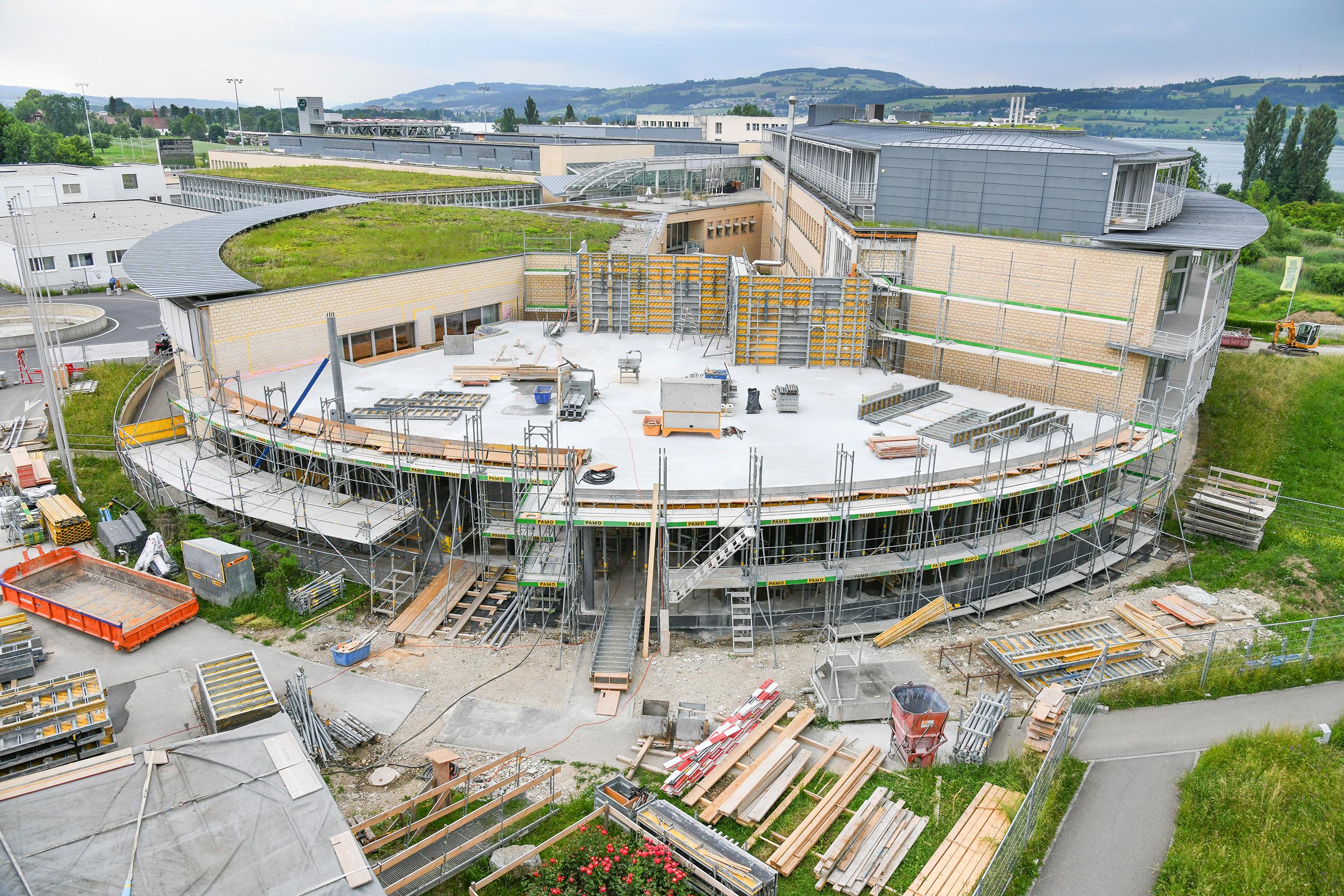 Die Baustelle des Besucherzentrums im Juni 2018