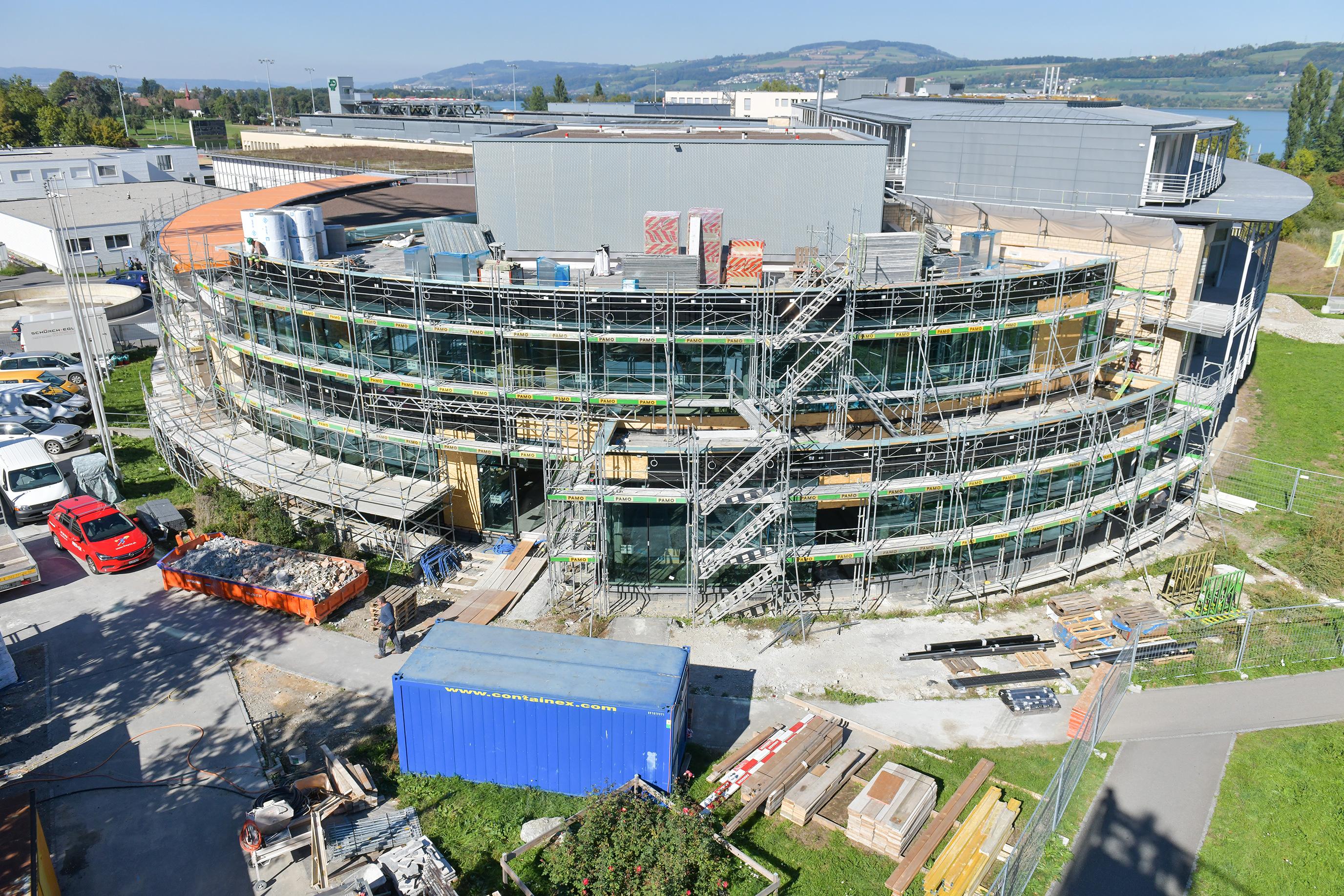 Die Baustelle des Besucherzentrums im September 2018