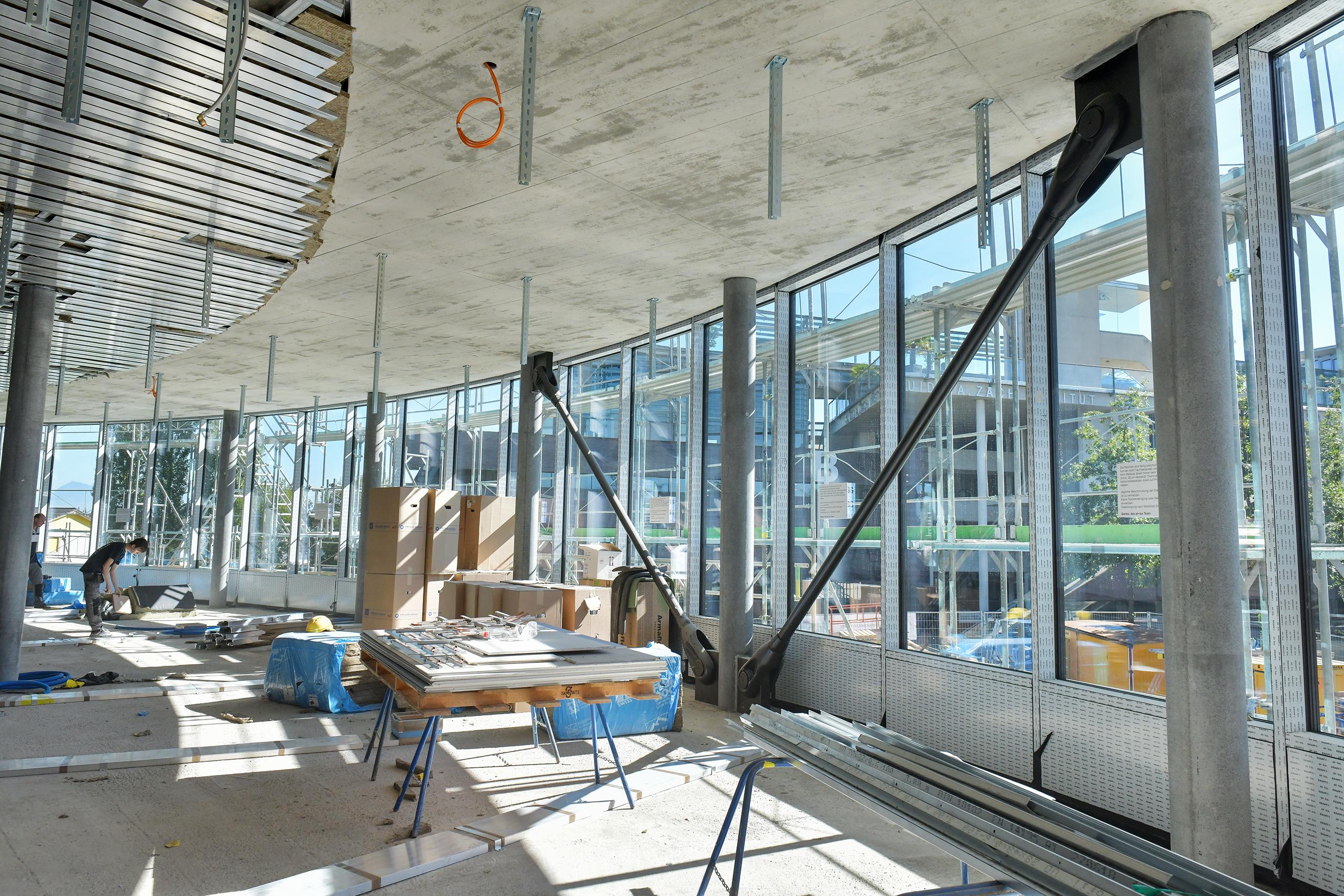Innenansicht der Baustelle des Besucherzentrums im September 2018