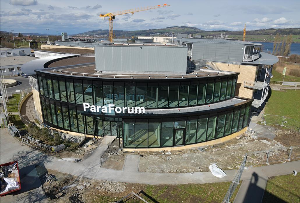 Die Baustelle des Besucherzentrums im März 2019