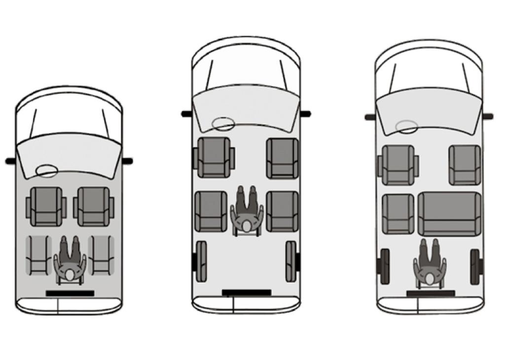 Hochdachkombis mit Heckausschnitt, Varianten lang und kurz, verschiedene Anordnungen im Innenraum