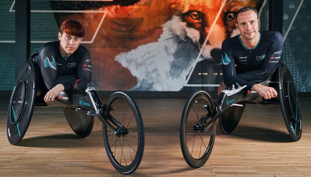 Orthotecsports Sportler Patricia Eachus und Marcel Hug im Rennrollstuhl