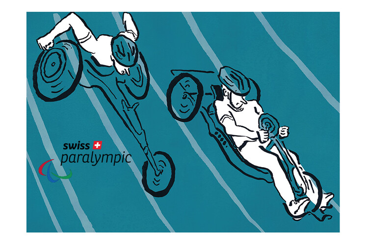 Orthotec Swiss Paralympic Burkart Illustration Bike Rennrollstuhl